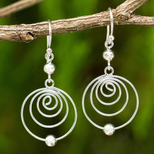 Modern Sterling Silver Dangle Earrings with Spiral Motif 'Point A'