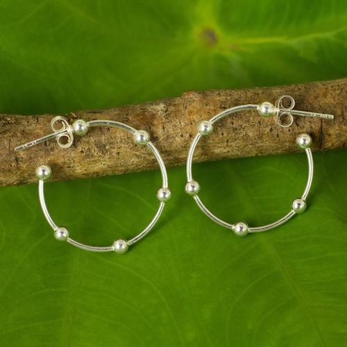 1-Inch Sterling Silver 925 Half Hoop Earrings with Posts 'Cosmos'