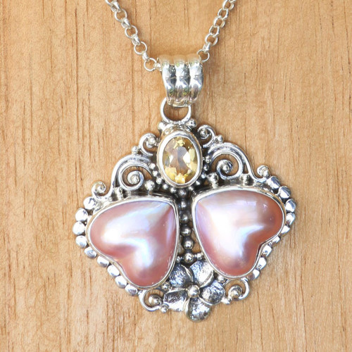 Heart Shaped Pink Mabe Pearl Pendant Necklace with Citrine 'Hearts Aglow'