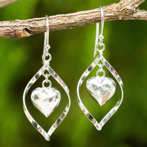 Sterling Silver 925 Heart Motif Dangle Earrings 'Captive Heart'
