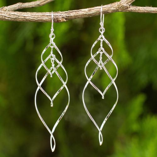 Helix Design Dangle Earrings in 925 Sterling Silver 'Forever Linked'