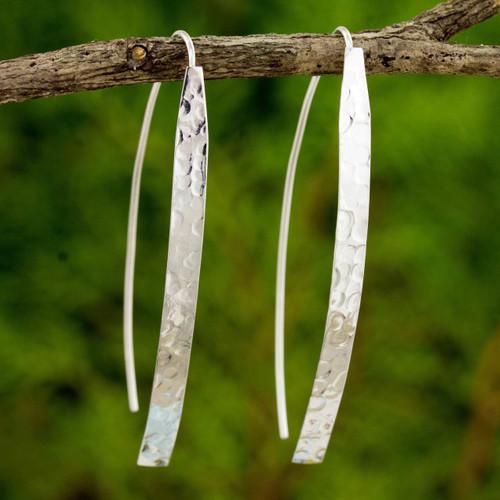 Modern Drop Earrings in Hammered Sterling Silver 'Modern Aesthetic'