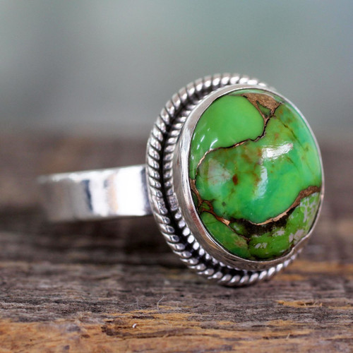 Silver Silver Ring with Green Composite Turquoise 'Green Fields in Jaipur'