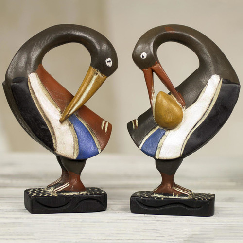 Ghanaian Sankofa Bird Wood Sculptures (Pair) 'Ghanaian Sankofa Birds'