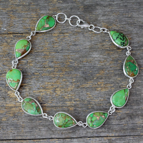 Silver 925 Bracelet Crafted with Green Composite Turquoise 'Serenity in Green'