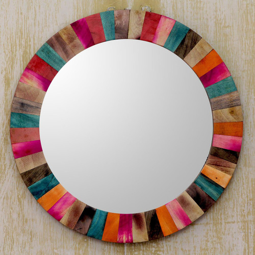 Colorful Mango Wood Wall Mirror Hand Crafted in India 'Festive Holi'