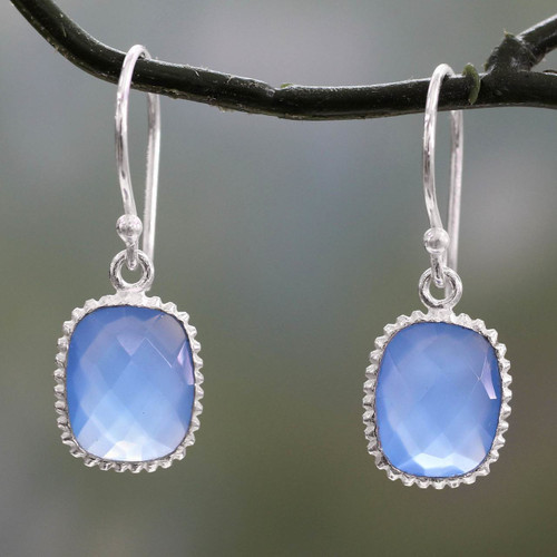 Blue Chalcedony Dangle Earrings in Polished 925 Silver 'Delhi Sky'
