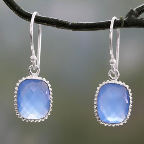Blue Chalcedony Dangle Earrings in Polished 925 Silver 'Delhi Sky'