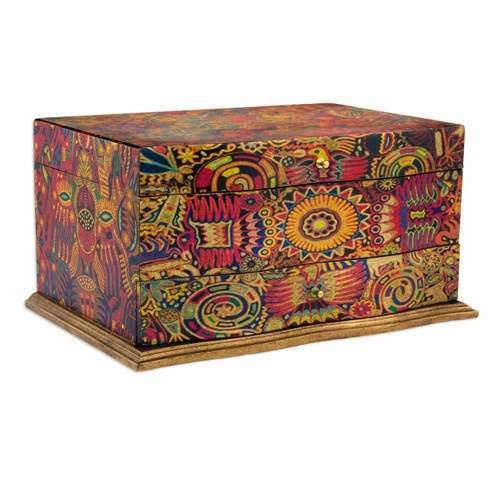 Huichol Theme Decoupage on Pinewood Jewelry Box with 3 Decks 'Huichol Enchantment'