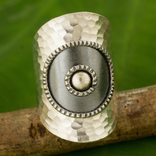 Artisan Made Thai Silver Wrap Ring with Oxidized Finish 'Silver Sun'