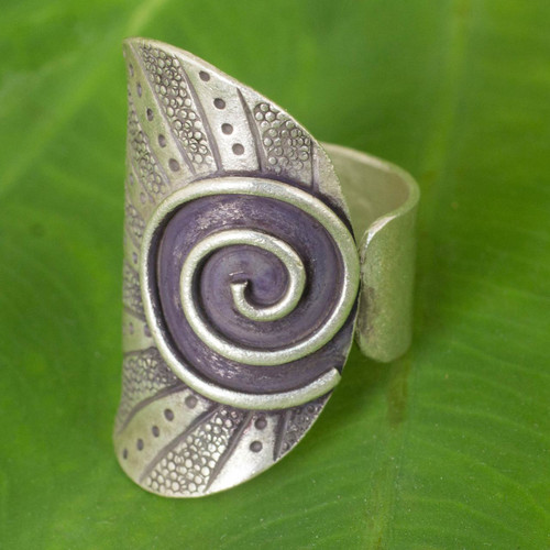 Thai Hand Crafted Silver Wrap Ring with Oxidized Finish 'Karen Rising'