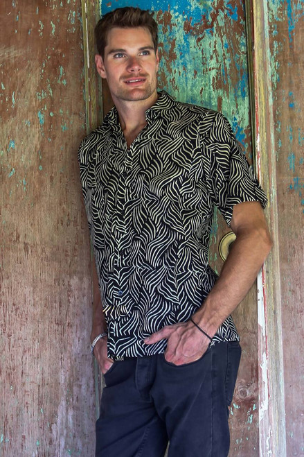 Men's Cotton Batik Button Down Short Sleeve Shirt 'Bedeg'