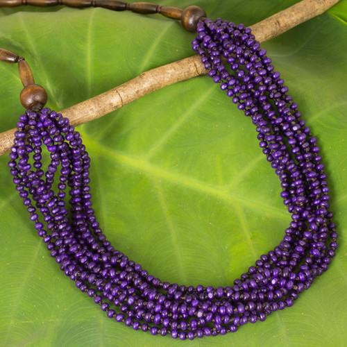 Artisan Crafted Purple Wood Necklace from Thailand 'Purple Urchin'