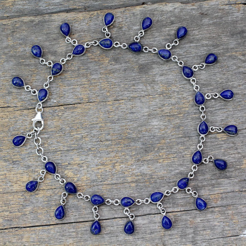 Lapis Lazuli and 925 Silver Anklet from Indian Artisan 'Royal Dewdrops'