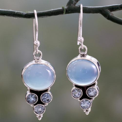 Light Blue Gemstone Earrings in Sterling Silver Settings 'Bubbling Stream'