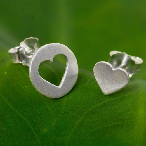 Brushed Silver Heart Earrings in Positive and Negative Space 'Heart in the Moon'