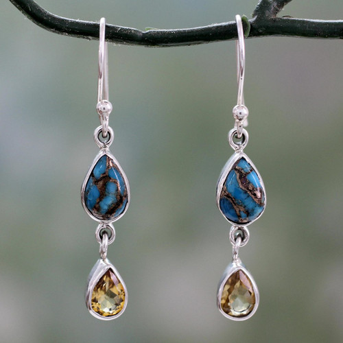 Citrine and Composite Blue Turquoise Dangle Earrings 'Heavenly Light'