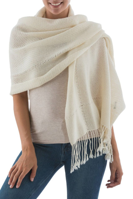 Andean 100% Baby Alpaca Backstrap Loom Handwoven Shawl 'Timeless in Alabaster'