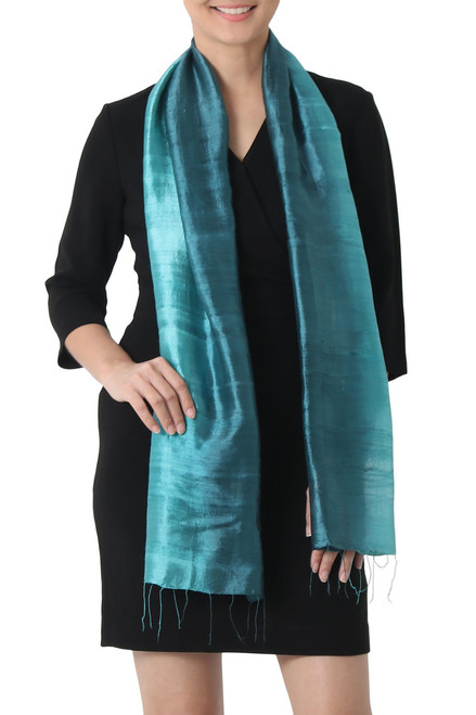 Artisan Crafted 100% Silk Teal Wrap Scarf from Thailand 'Peacock Blue'