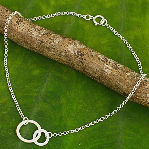 Thai Artisan Crafted Anklet in Brushed Sterling Silver 'Relationship'