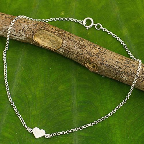 Artisan Crafted Sterling Silver Heart Anklet from Thailand 'Full Heart'