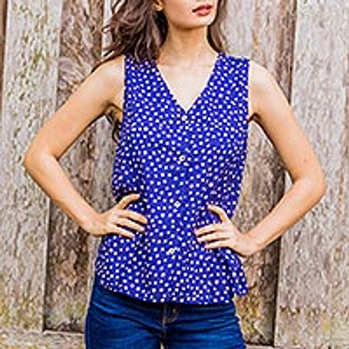 Artisan Crafted 100% Cotton Sleeveless Blouse in Blue 'Polka Dot Night'