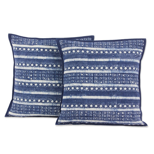 Set of 2 Blue Striped Hill Tribe Cotton Batik Cushion Covers 'Blue Hmong Charm'