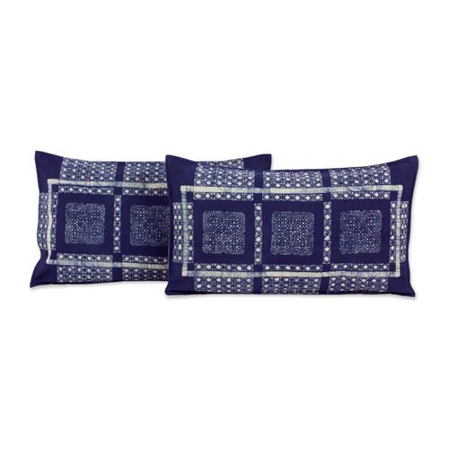 Set of 2 Elongated Hill Tribe Cotton Batik Cushion Covers 'Blue Hmong Windows'