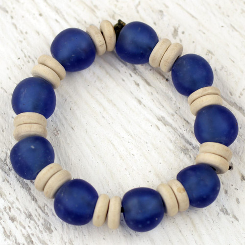 Blue Beaded Stretch Bracelet with Recycled Glass and Wood 'Accra Blue'