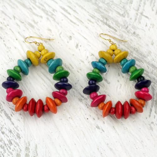 Colorful Fair Trade Beaded Wood Dangle Earrings from Ghana 'Joyous Celebration'