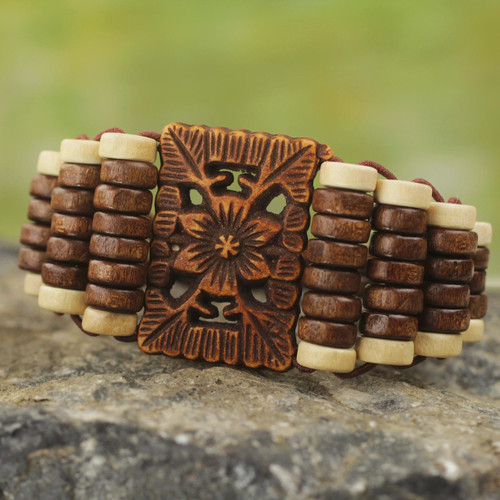Eco Friendly Ghana Artisan Crafted Wood Stretch Bracelet 'Kumasi Blossom'