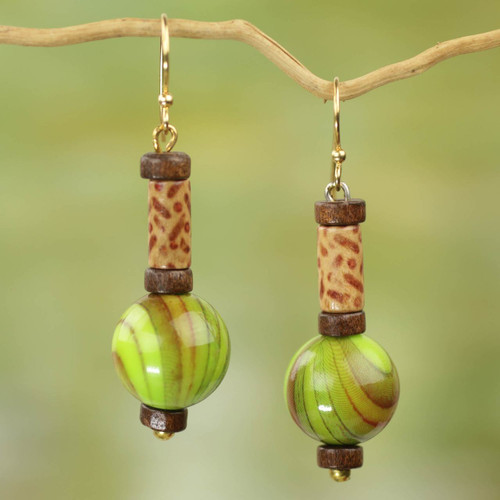 Hand Crafted Sese Wood and Upcycled Plastic Dangle Earrings 'Simplicity Globes'