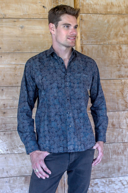 Hand Stamped Men's All Cotton Shirt in Blue and Grey 'Hypnotic'