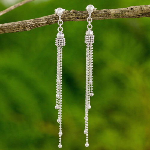Modern Thai Earrings Handcrafted in 925 Sterling Silver 'Scintillating Waterfall'