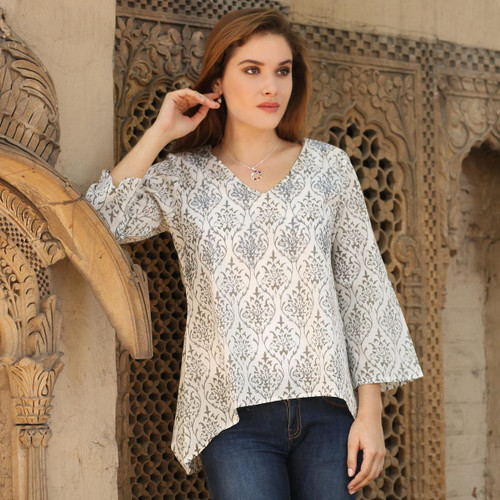 Smoke Grey Embroidered Floral Cotton Tunic from India 'Smoke Grey Pride'