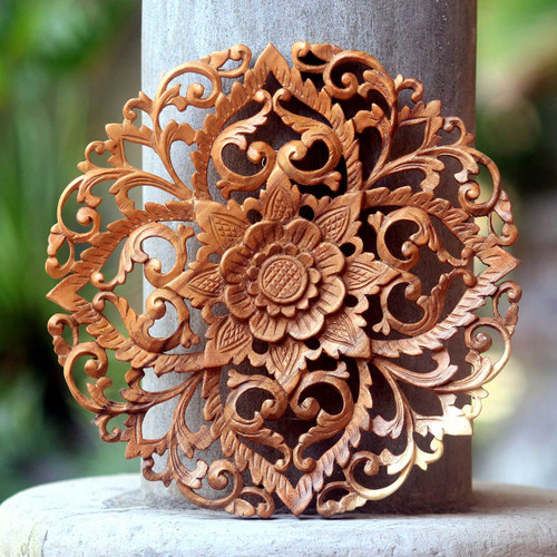 Traditional Balinese Floral Wool Round Relief Panel Carving 'Royal Flower'