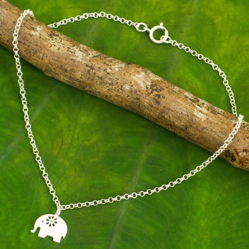 Handcrafted Thai Sterling Silver Floral Elephant Anklet 'Blooming Elephant'