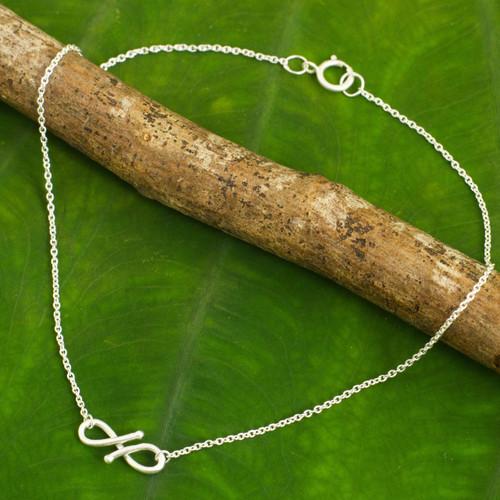 Modern Infinity Symbol Handcrafted Sterling Silver Anklet 'Until Forever'