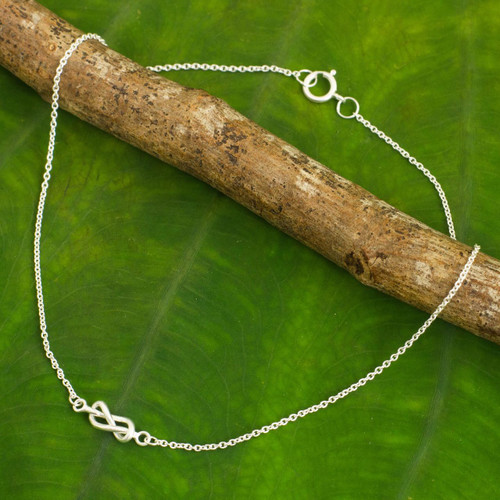 Handcrafted Sterling Silver Infinity Symbol Knot Anklet 'Infinity Knots'