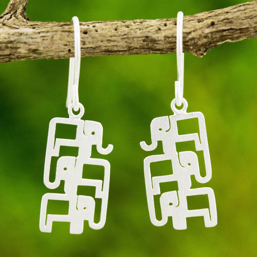 Brushed Sterling Silver Three-Elephant Dangle Earrings 'Elephant Pyramid'