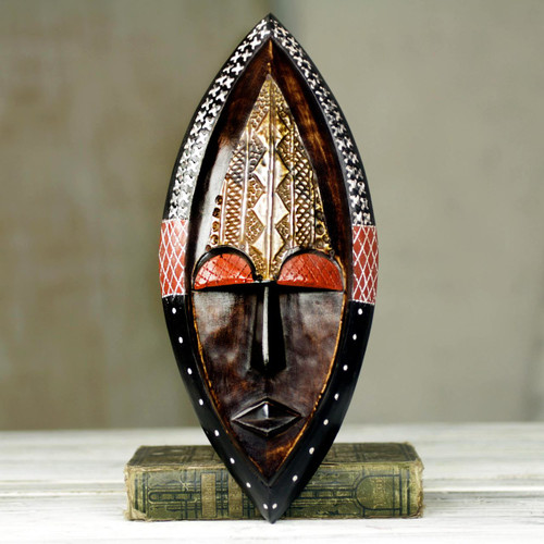 Ornate Hand Carved African Mask with Embossed Brass 'Peace Be Unto You'