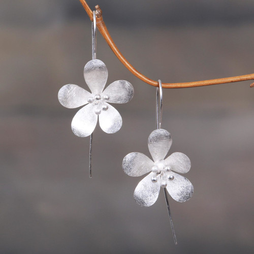 Artisan Crafted Floral Sterling Silver Drop Earrings 'Petal Radiance'