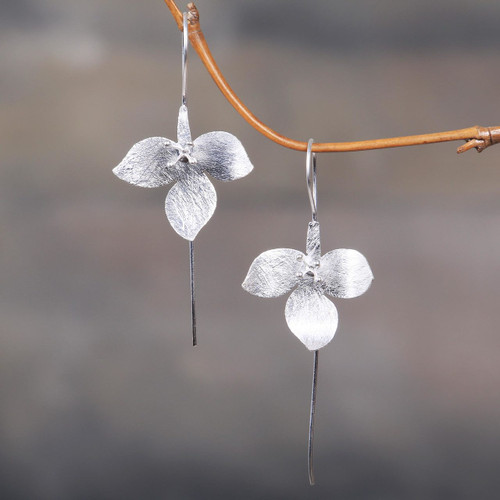 Artisan Crafted Sterling Silver Floral Drop Earrings 'Silver Tri Flower'