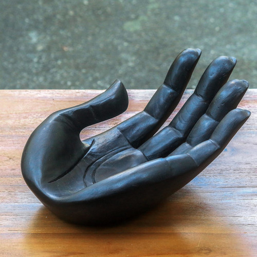 Handcarved Wood Signed Hand Sculpture Catchall 'Thankfulness'