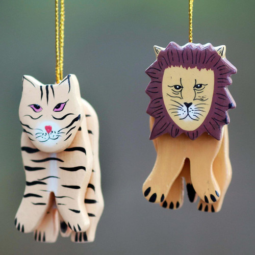 2 Hand Crafted Tiger and Lion Holiday Hanging Ornaments 'Tiger and Lion'