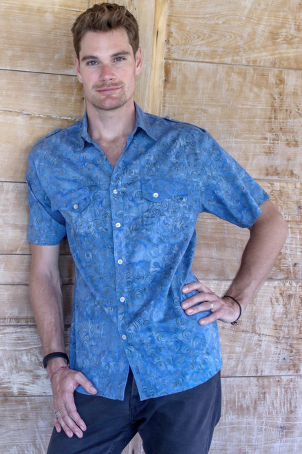 Men's Short Sleeve Blue Cotton Batik Shirt 'Blue Bali Expedition'