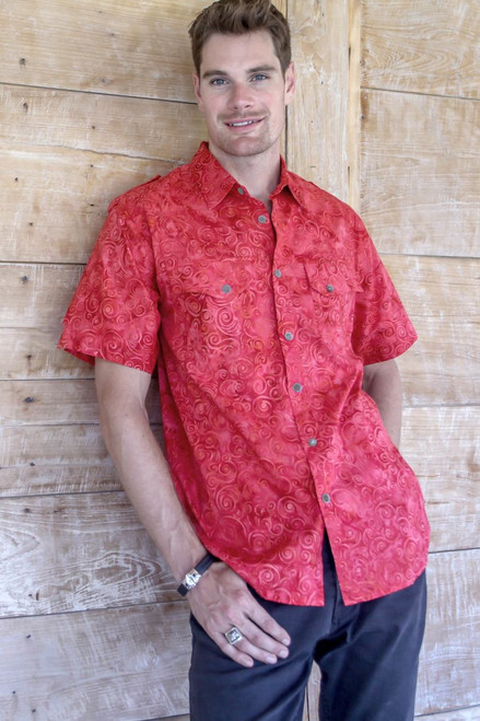 Red Cotton Batik Short Sleeve Men's Shirt 'Red Bali Expedition'