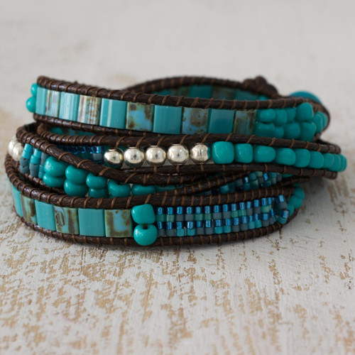 Soothing Teal Wrap Bracelet Crafted by Artisan Group 'Soothing Teal'