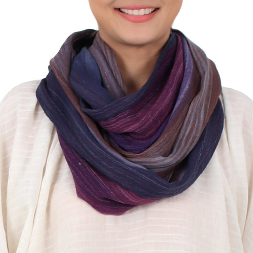 Colorful 100% Cotton Hand Woven Infinity Scarf from Thailand 'Radiant Horizon'