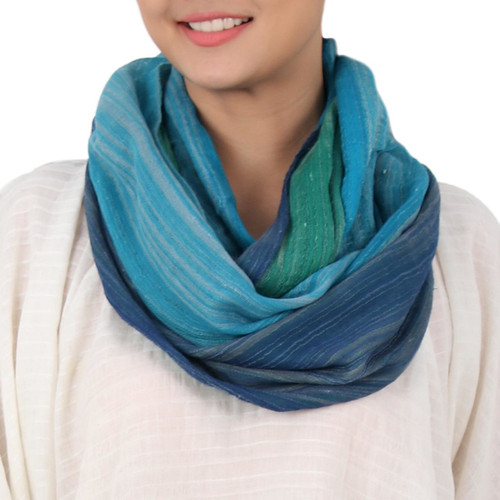 Artisan Crafted 100% Cotton Infinity Scarf from Thailand 'Misty Skies'
